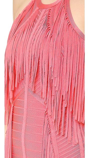 Herve Leger Metzi Fringe Cocktail Dress