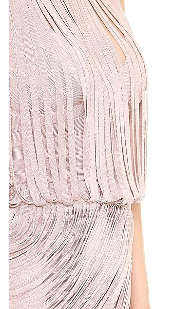 Herve Leger Leilei Fringe Cocktail Dress