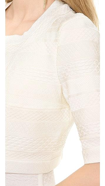 Herve Leger Textured Cropped Jacket