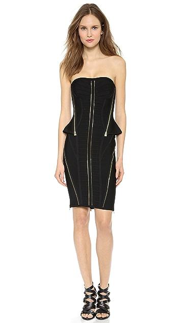 Herve Leger Xandra Zip Cocktail Dress