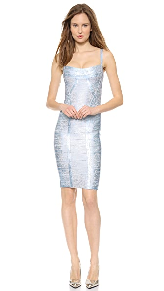 Herve Leger Judith Metallic Dress