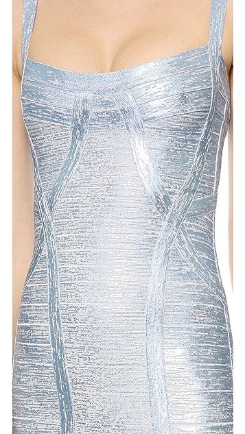 Herve Leger Judith Metallic Dress