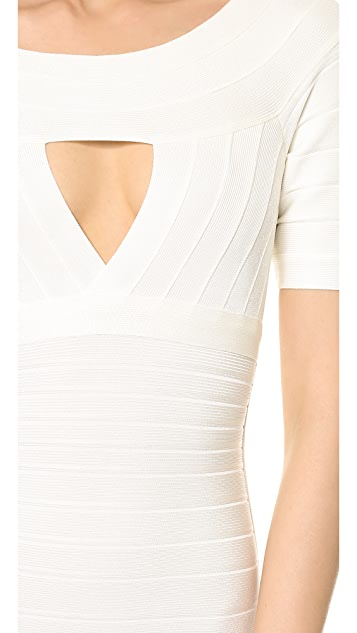 Herve Leger Kristin Keyhole Dress