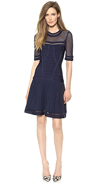 Herve Leger Haylynn Dress with Sheer Detail