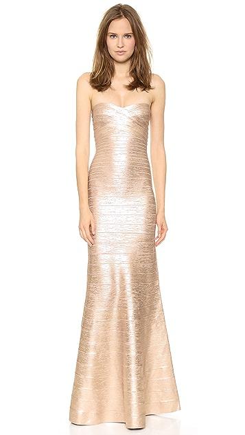 Herve Leger Sara Strapless Gown