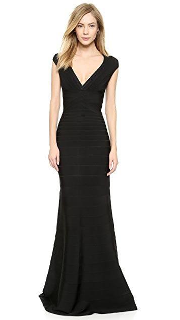 Herve Leger Sleeveless Roma Gown