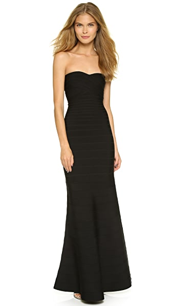 Herve Leger Strapless Gown - Black