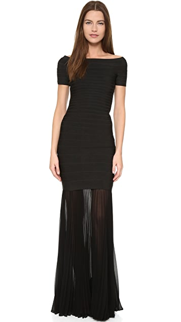Herve Leger Maxi Skirt with Sheer Pleated Extension