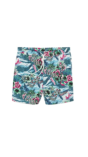 Hartford Hawaiian Floral Swim Trunks