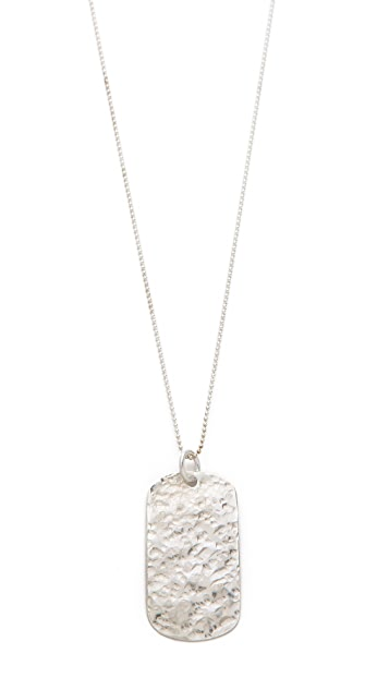 Heather Hawkins Hammered Dog Tag Necklace