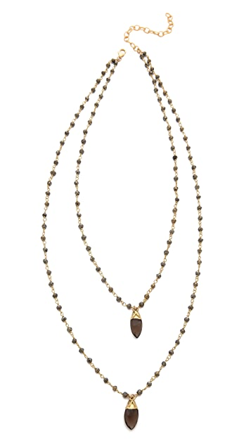 Heather Hawkins Double Layer Marquis Gemstone Necklace