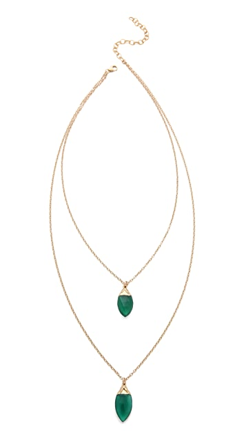 Heather Hawkins Double Layer Marquis Drop Chain Necklace