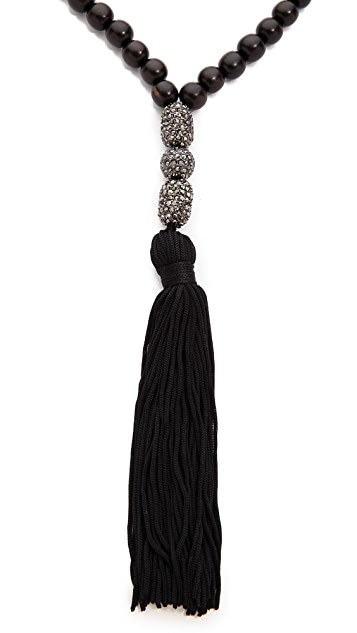 Hipchik Couture Silk Tassel Wood Beaded Necklace
