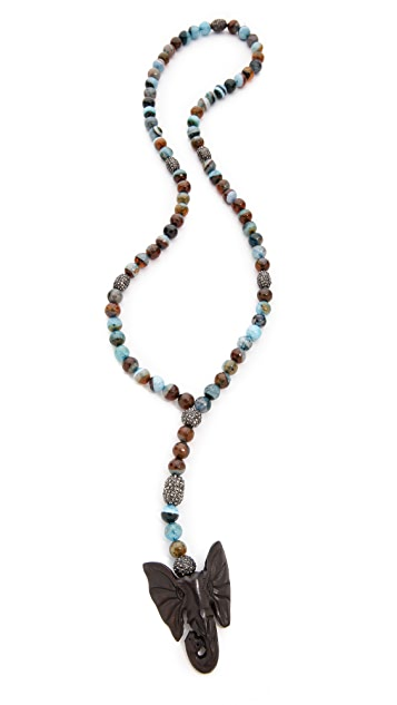 Hipchik Couture Elephant Head Agate Necklace