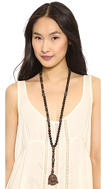 Hipchik Couture Wooden Beaded Buddha Necklace