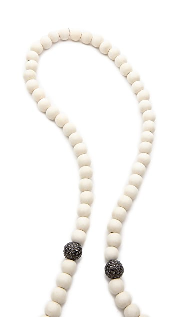 Hipchik Couture Wood Bead Y Necklace