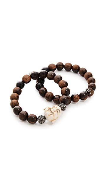 Hipchik Couture Wooden Buddha Bracelet Set