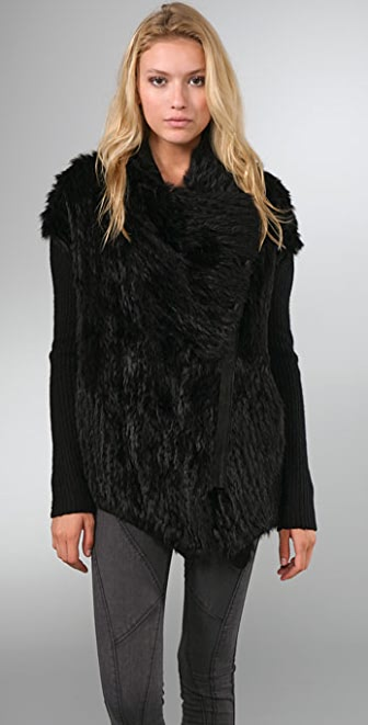 Helmut Lang Fur Sweater Jacket | SHOPBOP