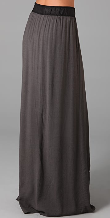 Helmut Lang Front Slit Skirt with Leather Waist