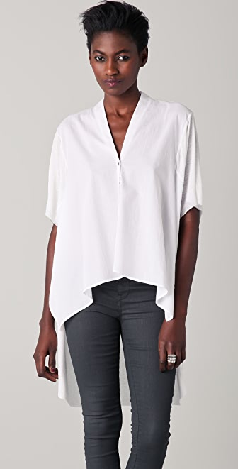 Helmut Lang Hi Low Button Down Blouse