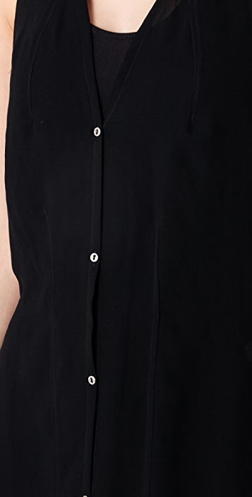 Helmut Lang Long Button Down Asymmetrical Dress