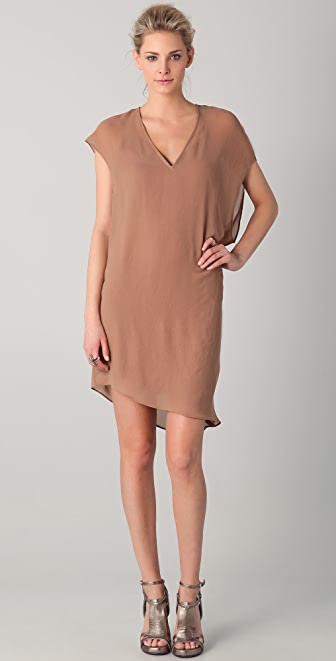 Helmut Lang V Neck Asymmetrical Dress