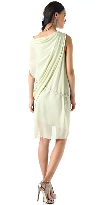 Helmut Lang Pebble Silk Belted Dress
