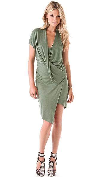 Helmut Lang Shale Jersey Flip Front Dress