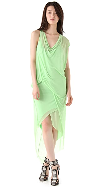 Helmut Lang Viscose Film Draped Maxi Dress