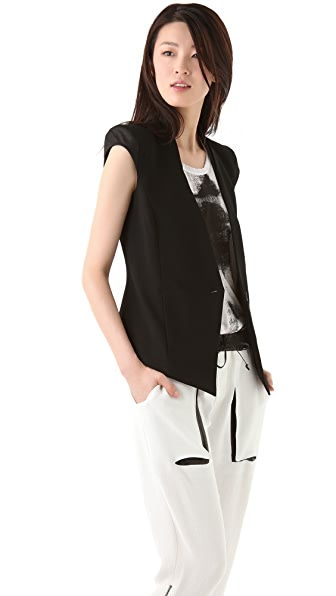 Helmut Lang Vest with Leather Cap Sleeves