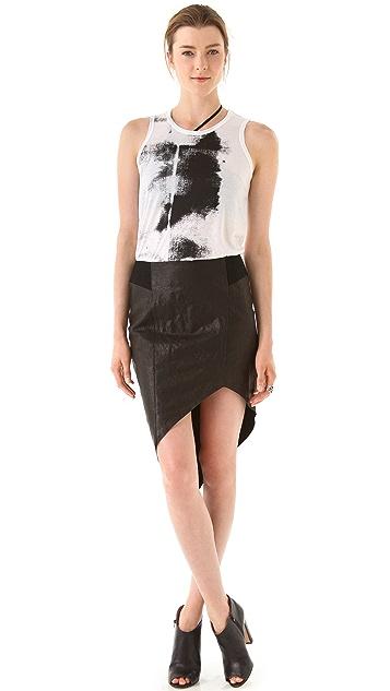 Helmut Lang Petrol Asymmetrical Leather Skirt