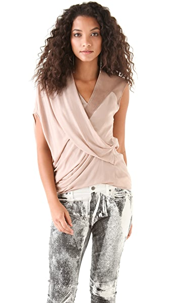 Helmut Lang Lush Voile Top with Leather Shoulder