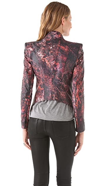 Helmut Lang Midnight Floral Leather Jacket