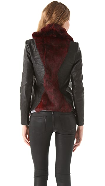 Helmut Lang Flux Fur Moto Jacket