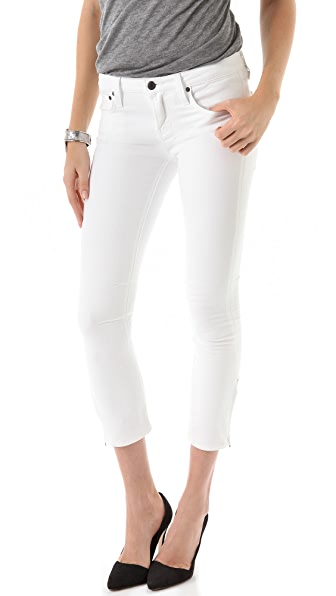Helmut Lang White Wash Cropped Skinny Jeans