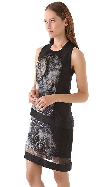 Helmut Lang Oxide Print Chiffon Dress