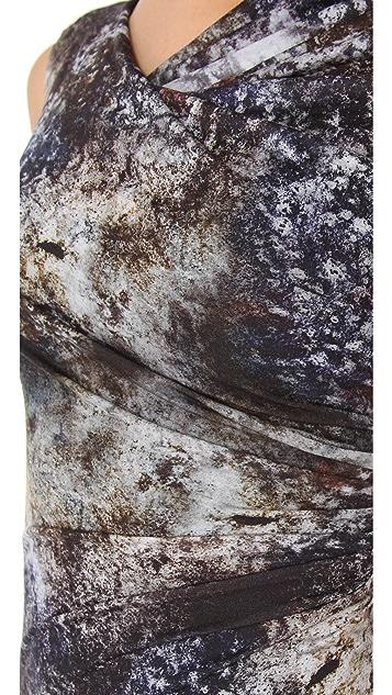 Helmut Lang Oxide Print Twist Dress