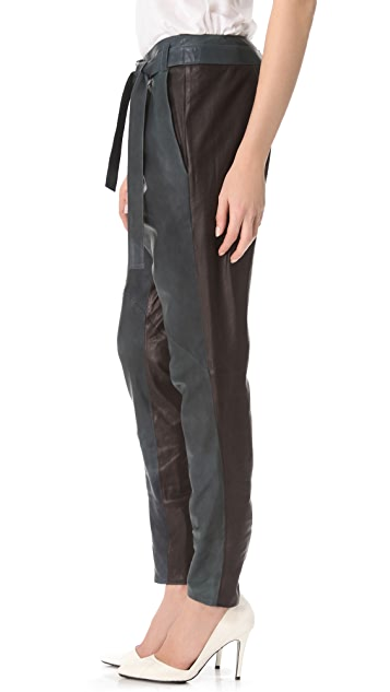 Helmut Lang Two Tone Leather Pants