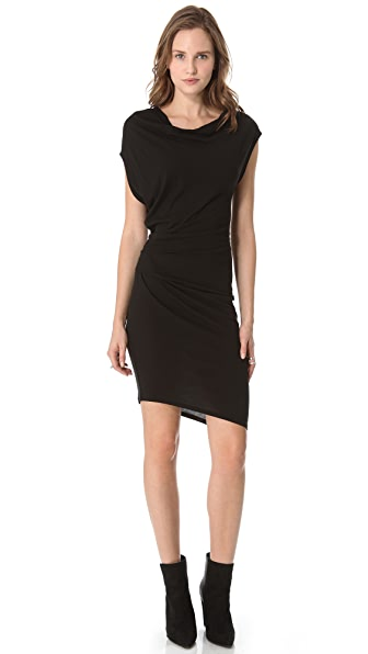 Helmut Lang Feather Jersey Draped Dress