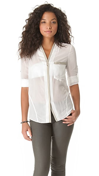 Helmut Lang Button Slim Suede Blouse