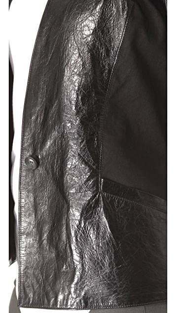 Helmut Lang Razor Leather Fitted Jacket