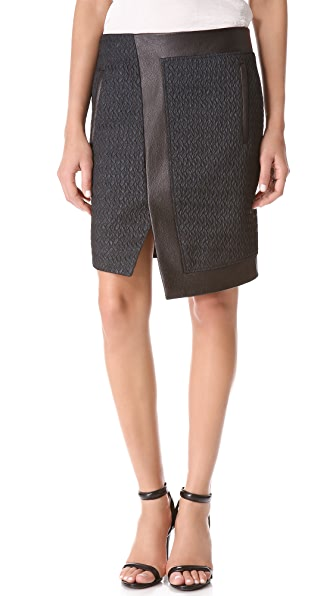 Helmut Lang Peak Angled Leather Skirt