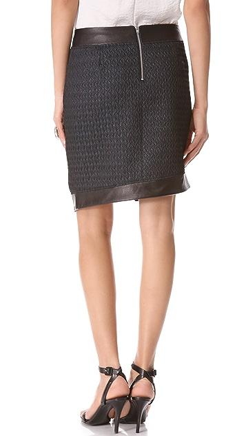 Helmut Lang Peak Angled Leather Skirt