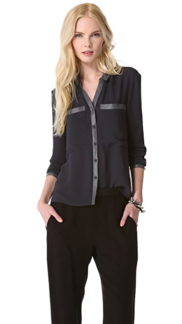 Helmut Lang Soft Shroud Button Blouse