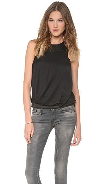 Helmut Lang Sleeveless Leather Neck Top
