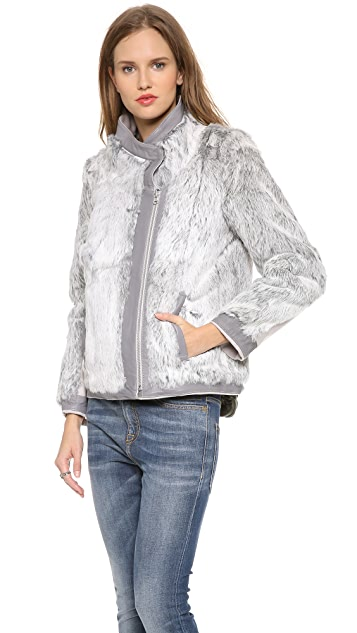 Helmut Lang Reversible Felt Coat with Fur Trim