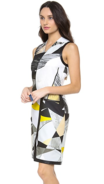 Helmut Lang Fold Over Cubist Print Dress