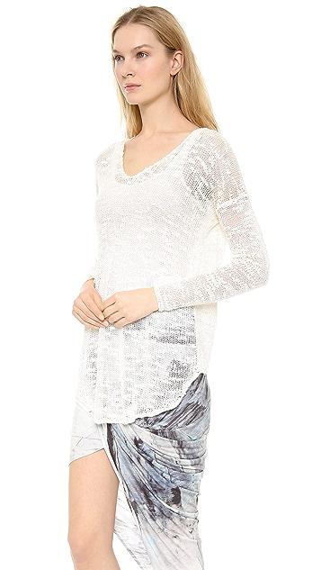 Helmut Lang Irregular Silk V Neck Sweater