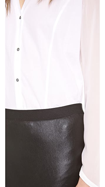 Helmut Lang Stretch Leather Miniskirt