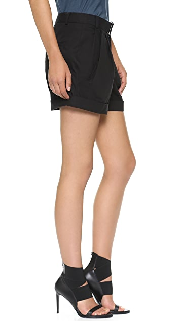 Helmut Lang Rolled Hem Draped Shorts